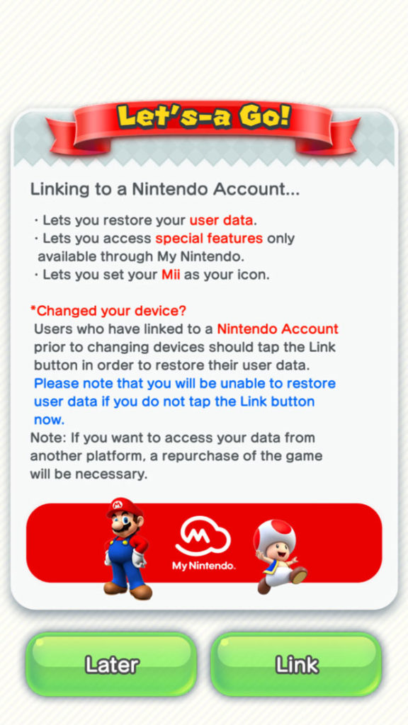 super mario run login